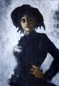 portrait of a lady in a black hat by ralph wormeley curtis
