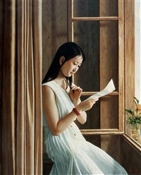 the girl reading a letter beside the window by xiao qing