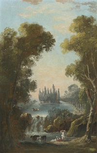 the tomb of jean jacques rousseau at ermenonville by hubert robert