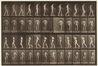nude man with lateral sclerosis walking, plate 548 (from animal locomotion) by eadweard muybridge
