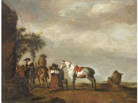figures outside an inn by philips wouwerman