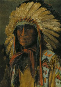 untitled - portrait of an indian chief by henry metzger