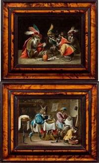 les singes, joueurs de cartes (+ les singes barbiers; pair) by abraham teniers