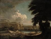 a wooded landscape with shepherds by a lake, a castle beyond by jared leigh
