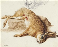 still life of a dead hare, with a subsidiary study of its nose by jacques-laurent agasse