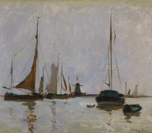 quiet harbor, holland by john henry twachtman