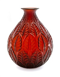 a rene lalique molded and frosted glass malesherbes vase by rené lalique
