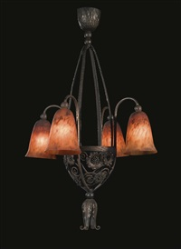 four-light chandelier by daum and edgar brandt