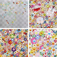 cube 2/ kaikai kiki and me - the shocking truth revealed/ if i could reach that field of flowers, i would die happy/ flower smile (set of 4) by takashi murakami