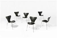3107 - série 7 suite de six chaises by arne jacobsen