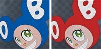 and then, and then, and then, and then, and then blue & red (2 works) by takashi murakami