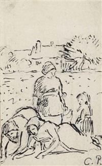 les travailleuses des champs, dit 'no.1: printemps sarcleuses' by camille pissarro