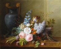 bouquet de fleurs au nid d'oiseau by cornelis van spaendonck