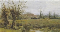 herding sheep past a hamlet by alfred robert quinton