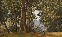 forest scene with two women in the foreground and a town with a church in the background by henri linguet