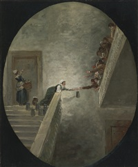 the distribution of milk at saint-lazare prison by hubert robert