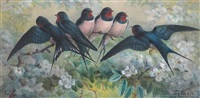 swallows on a branch by johannes gerardus keulemans