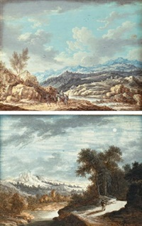 travelers and shepherds in a landscape (+ a traveler in a moonlit landscape; pair) by henri-joseph van blarenberghe