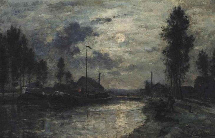 le canal saint denis clair de lune by stanislas lépine