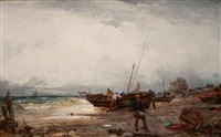 pêcheurs en bord de plage by paul bistaagne
