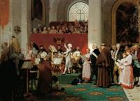 hommage an wolfgang amadeus mozart. am 7.12.1768 dirigierte der 12jährige mozart die c-moll messe in der waisenhauskirche in anwesenheit der kaiserlichen familie by eugène ernest hillemacher