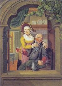 en vinduesniche, med vindrikkende mand og dame, der kilder ham på hagen by cornelis van cuylenburg