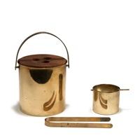 eisbehälter mit zange und aschenbecher 'brass line' by arne jacobsen
