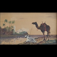 paesaggio orientale con beduino e cammello by fabio fabbi
