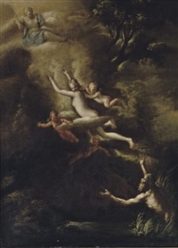 glaucus fleeing from skylla, the goddess diana looking down from above by nicola vaccaro