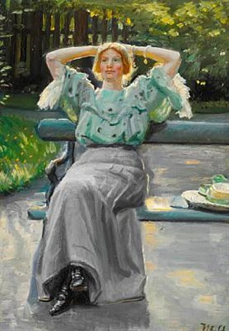 helga ancher on a bench in the garden on a summer evening by michael peter ancher
