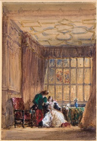 the interior of the long gallery, haddon hall, derbyshire by david cox the elder