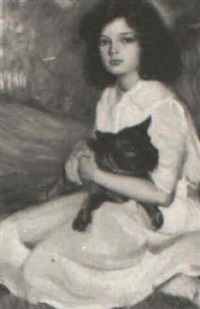 girl holding pet dog by david anthony tauszky