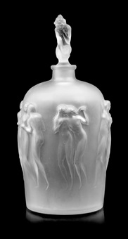 a rene lalique molded and frosted glass douze figurines vase and stopper by rené lalique