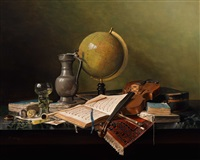 still life with globe and violin (vanitas) by jos aanraad