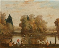figures by a lake in an autumnal landscape by raoul millais