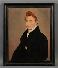 portrait of a ginger-haired young man by ammi phillips
