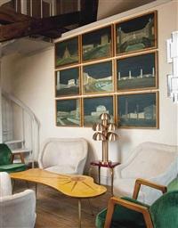 designs for the eur (esposizione universale di roma)(set of 9 paintings) by marcello piacentini