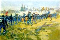 rassemblement de troupes 1891. manoeuvres de romont by louis dunki
