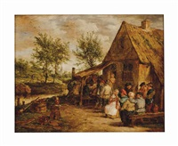 peasants merrymaking outside an inn by david teniers the younger