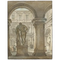 view of the farnese hercules in the portico of the courtyard of the farnese palace, rome by giacomo quarenghi