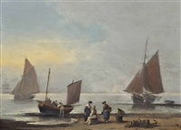 unloading the day's catch onto the beach at teignmouth, devon by thomas luny
