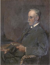 portrait of john nairn seated half-length, in a wicker chair, holding a book by david alison