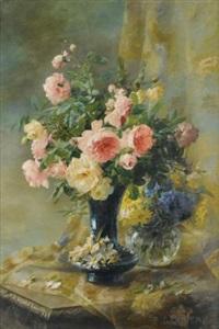 vase de roses et vase de myosotis by pierre garnier