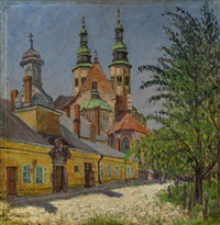 view of a church by nikolai petrovich bogdanov-bel'sky