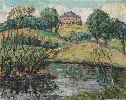 a house overlooking a river by ernest lawson
