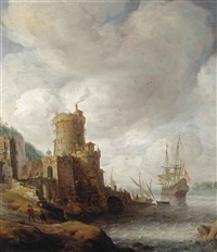 a mediterranean capriccio harbour with a dutch man-o-war mooring by jan abrahamsz beerstraten