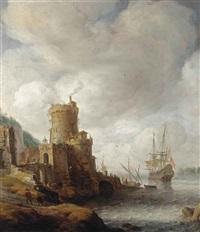 a mediterranean capriccio harbour with a dutch man-o-war mooring by jan abrahamsz beerstraten