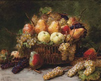pears, apples and grapes in a wicker basket on a stone ledge by alexis kreyder