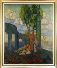 elégantes dans un paysage by alexander georgievitch yakimtchenko