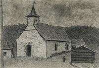 église de targnon - vieille à la fenêtre (2 works) by xavier mellery